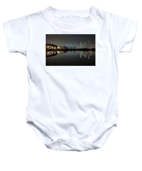 Dubai City Skyline Night Time Reflection Baby Onesie
