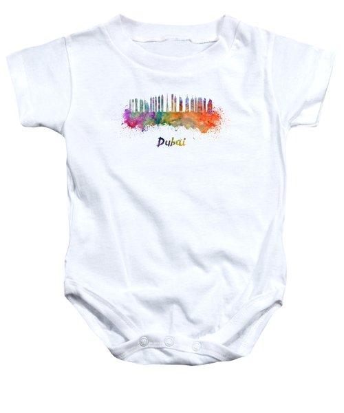 Dubai V2 Skyline In Watercolor Baby Onesie