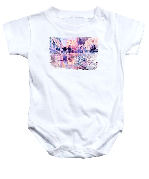Dublin Watercolor Streetscape Baby Onesie
