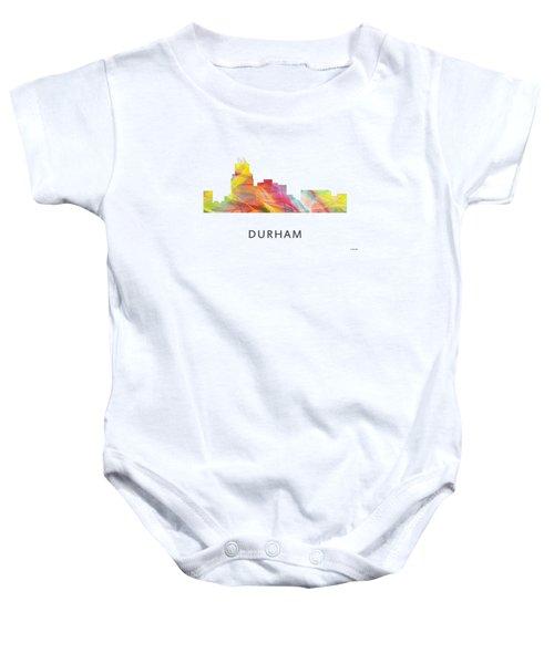 Durham North Carolina Skyline Baby Onesie by Marlene Watson