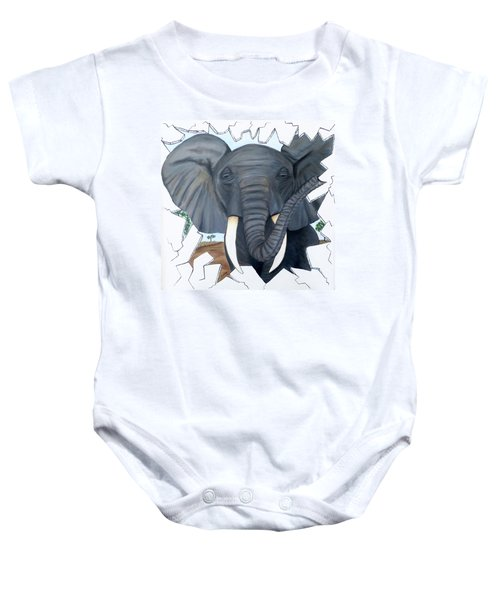 Eavesdropping Elephant Baby Onesie by Teresa Wing