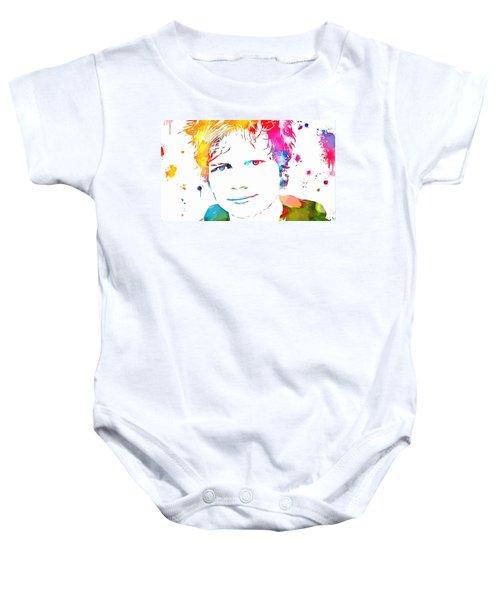 Ed Sheeran Paint Splatter Baby Onesie by Dan Sproul