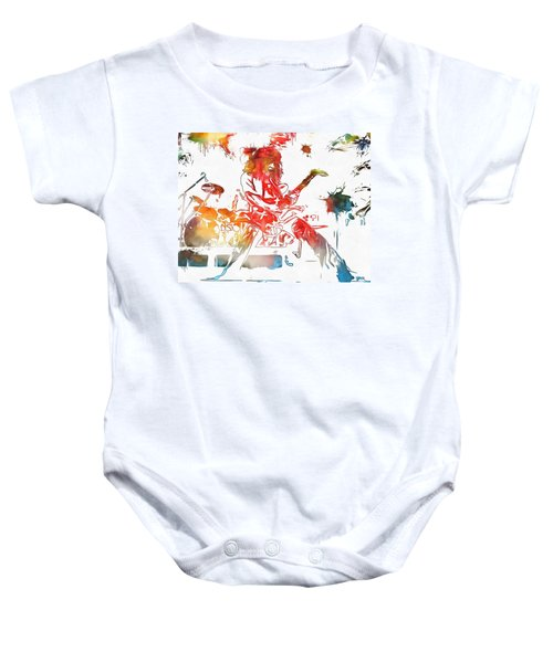 Eddie Van Halen Paint Splatter Baby Onesie by Dan Sproul