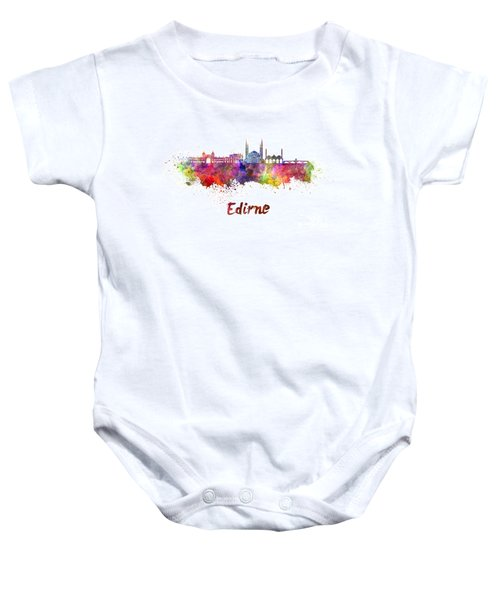 Edirne Skyline In Watercolor Baby Onesie by Pablo Romero