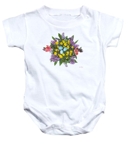 Eggs In Dandelions, Lilacs, Violets And Tulips Baby Onesie