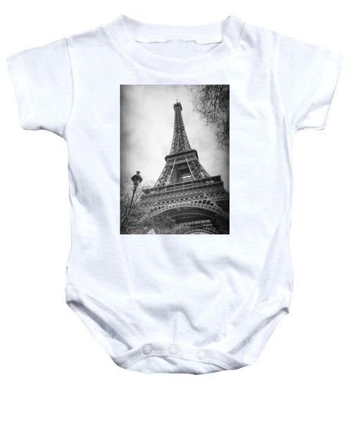 Eiffel Tower And Lamp Post Bw Baby Onesie