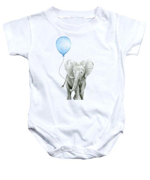 Elephant Watercolor Blue Nursery Art Baby Onesie
