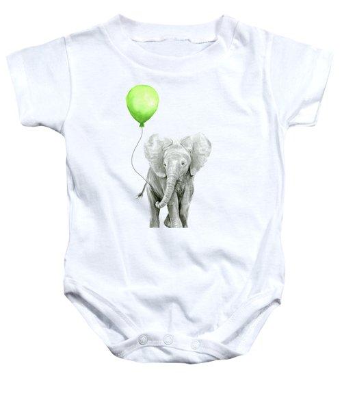 Elephant Watercolor Green Balloon Kids Room Art  Baby Onesie