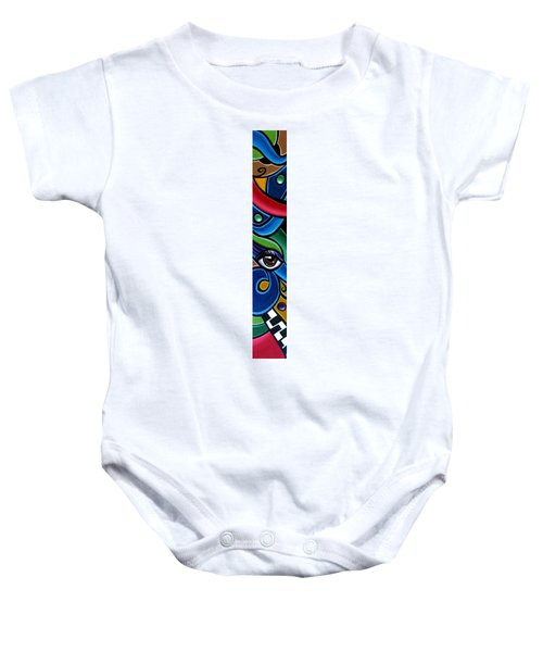Colorful Abstract Art Painting, Modern Art Brown Eye Art Paintings Baby Onesie