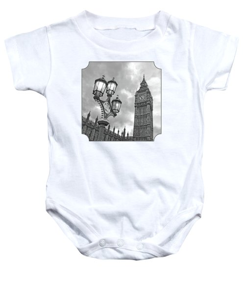 Evening Light At Big Ben In Black And White Baby Onesie by Gill Billington
