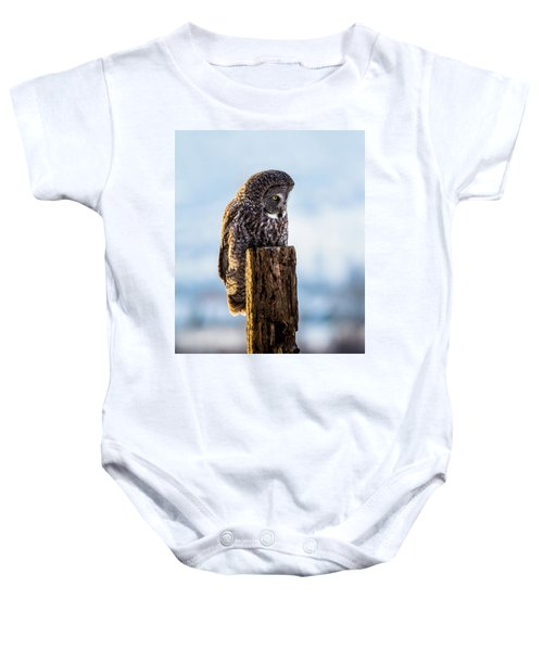 Eye On The Prize - Great Gray Owl Baby Onesie