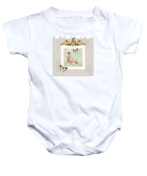Fairy Teacups - Flutterbye Butterflies And English Rose Damask Baby Onesie by Audrey Jeanne Roberts