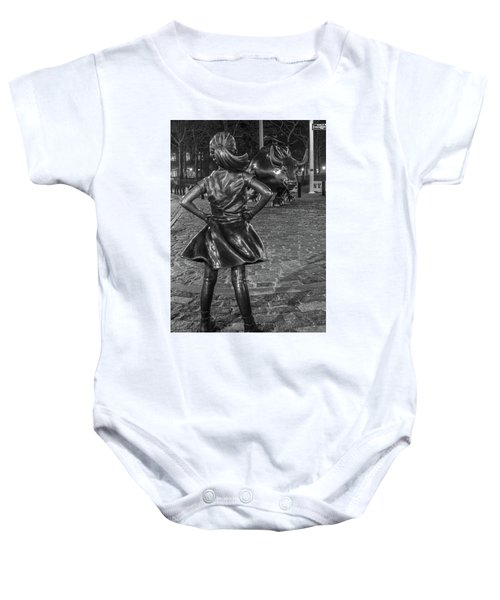 Fearless Girl And Charging Bull Nyc Baby Onesie