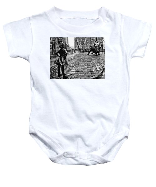 Fearless Girl And Wall Street Bull Statues 3 Bw Baby Onesie