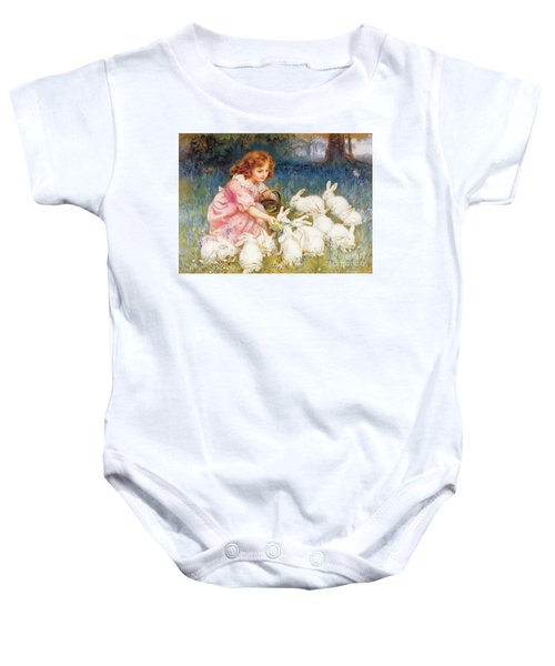 Feeding The Rabbits Baby Onesie by Frederick Morgan