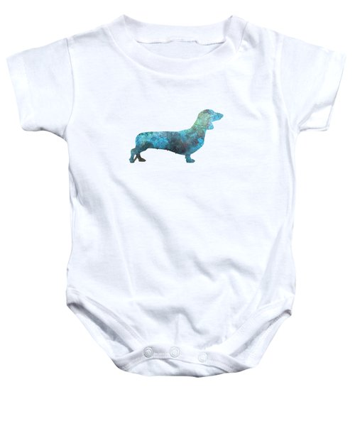 Female Dachsund In Watercolor Baby Onesie by Pablo Romero