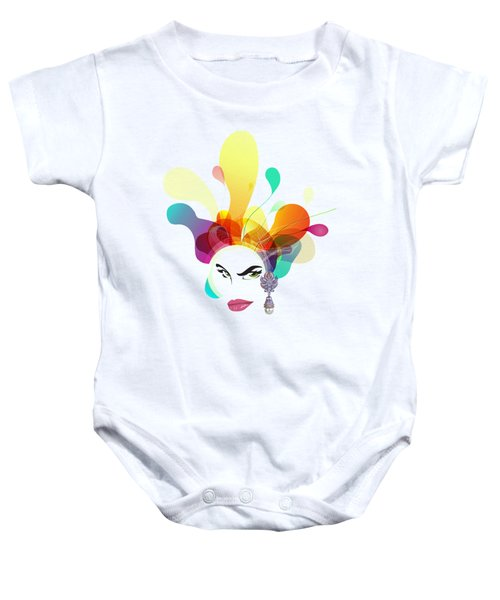 Female Face Abstract Baby Onesie