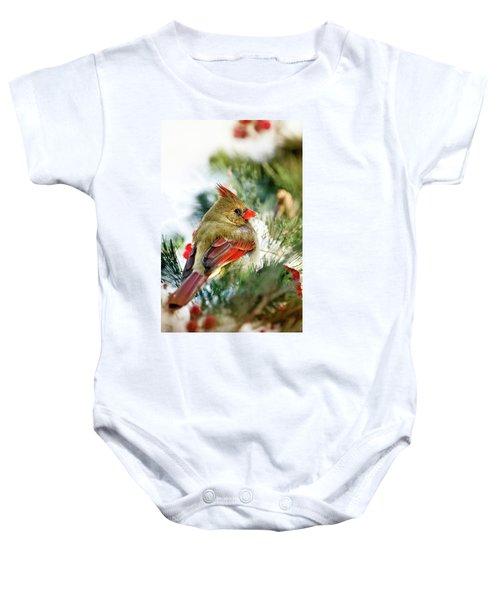 Female Northern Cardinal Baby Onesie