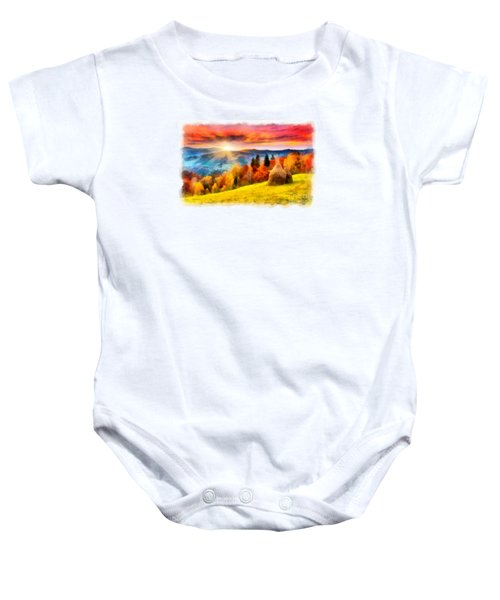 Field Of Autumn Haze Painting Baby Onesie