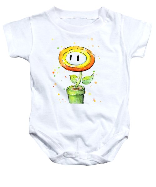 Fireflower Watercolor Baby Onesie by Olga Shvartsur