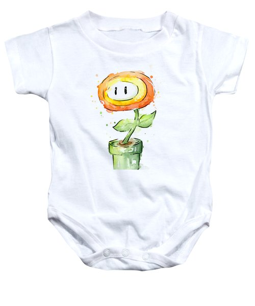 Fireflower Watercolor Painting Baby Onesie