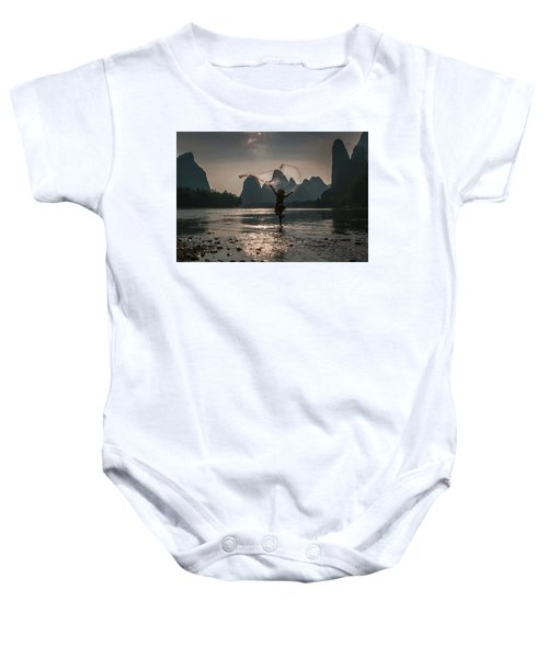 Fisherman Casting A Net. Baby Onesie