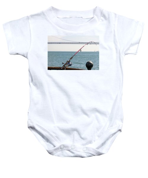 Fishing Rod On The Pier In San Francisco Bay Baby Onesie