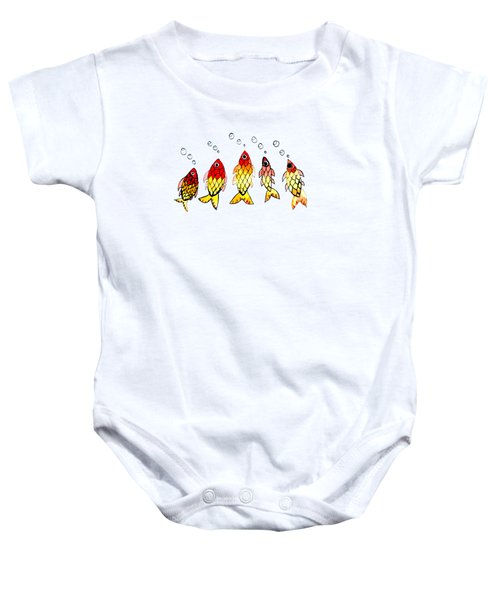 Five Bubble Fish Baby Onesie by Candace Ho