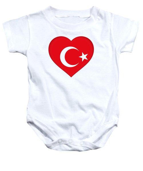 Flag Of Turkey Heart Baby Onesie by Roy Pedersen