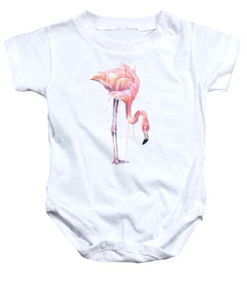 Flamingo Illustration Watercolor - Facing Left Baby Onesie by Olga Shvartsur