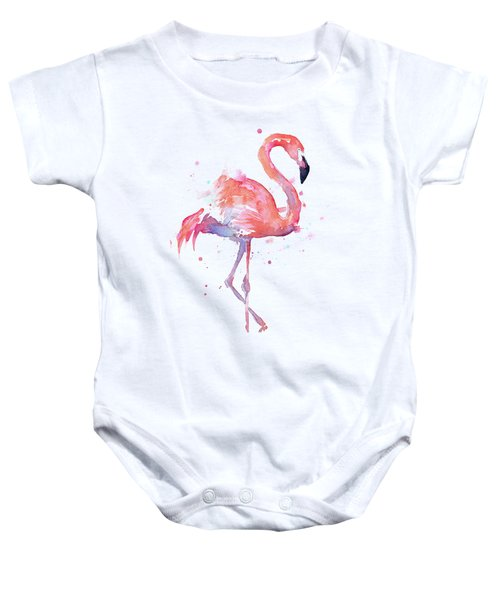 Flamingo Watercolor Facing Right Baby Onesie
