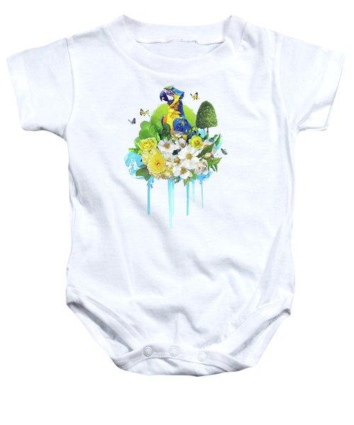 Floral Parrot Baby Onesie