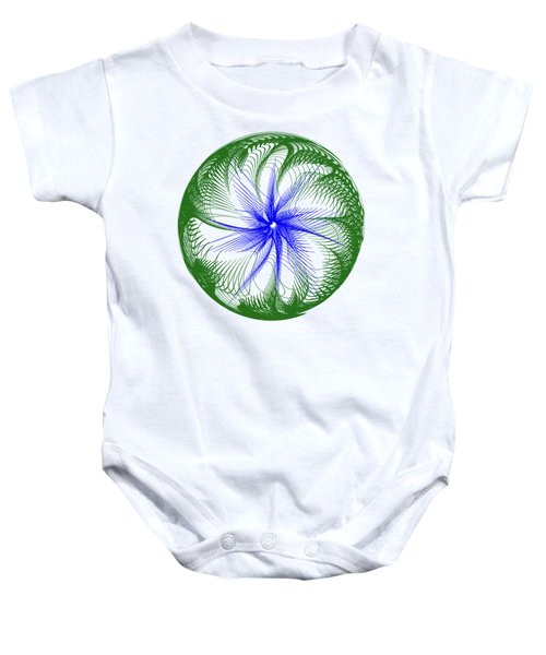 Floral Web - Green Blue By Kaye Menner Baby Onesie by Kaye Menner