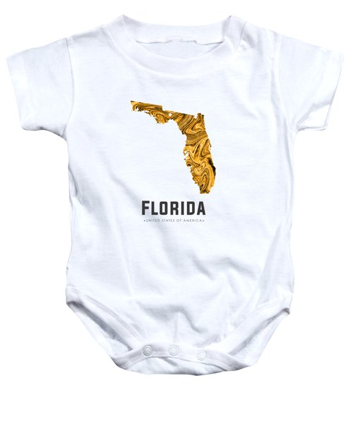 Florida Map Art Abstract In Yellow Gold Baby Onesie