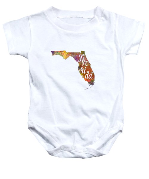 Florida Us State In Watercolor Text Cut Out Baby Onesie