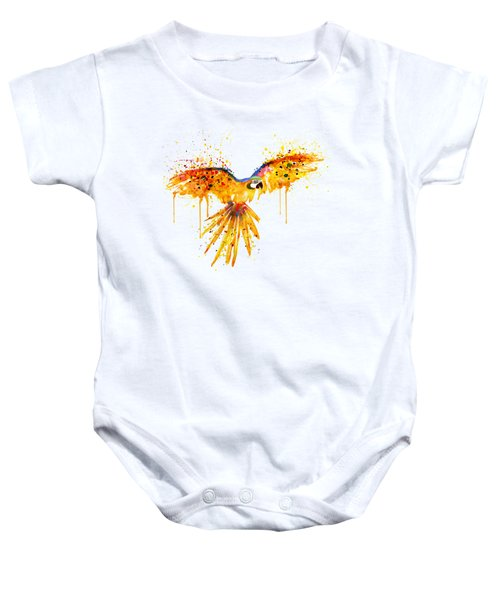 Flying Parrot Watercolor Baby Onesie by Marian Voicu
