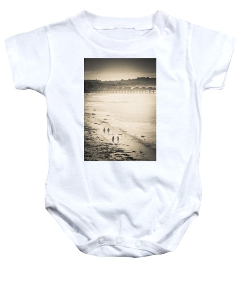 Foggy Beach Walk Baby Onesie