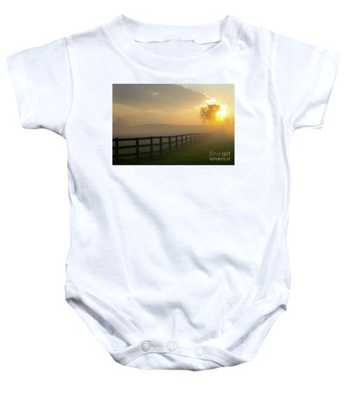 Foggy Pasture Sunrise Baby Onesie