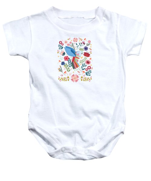 Folk Art Inspired Hummingbird In A Burst Of Springtime Blossoms Baby Onesie