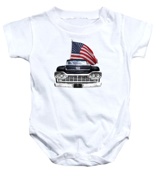 Ford F100 With U.s.flag On Black Baby Onesie
