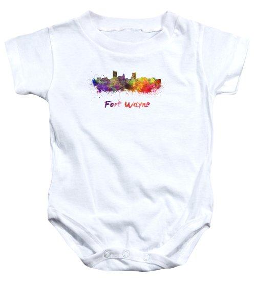 Fort Wayne Skyline In Watercolor Baby Onesie