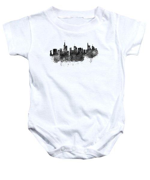 Frankfurt Black And White Skyline Baby Onesie by Marian Voicu