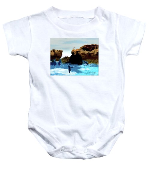 Friends With Dolphins In Colour Baby Onesie