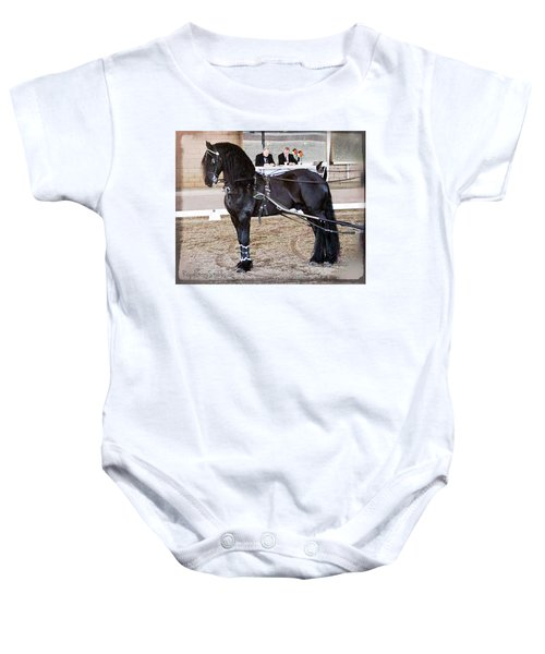 Friesian Stallion Under Harness Baby Onesie