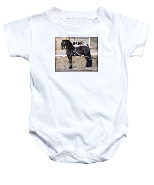 Friesian Stallion Under Harness Baby Onesie