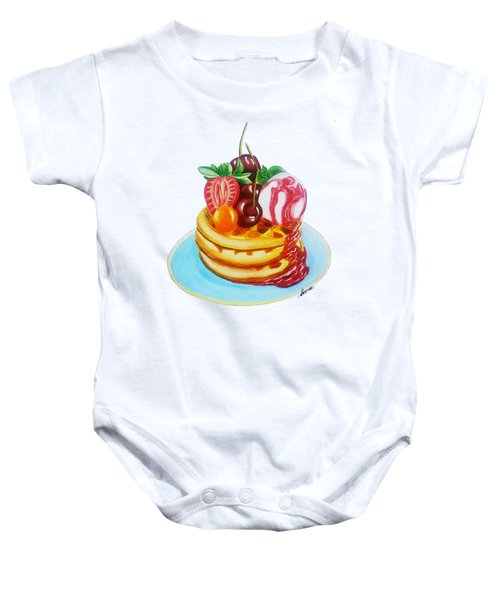Fruity Waffles Served With Ice Cream And Strawberry Sauce Baby Onesie by Sonja Taljaard