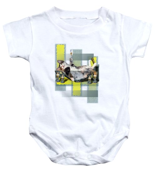 Funny Pet Print With A Tipsy Kitty  Baby Onesie