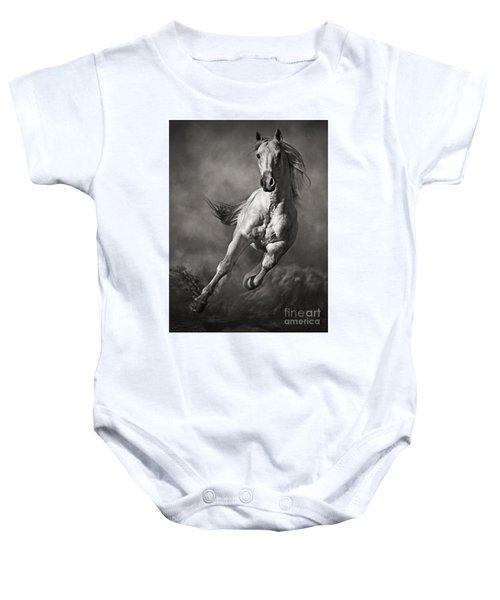 Galloping White Horse In Dust Baby Onesie