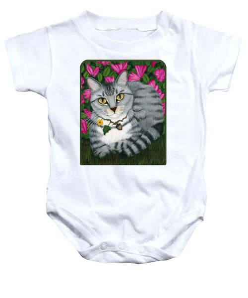 Garden Cat - Silver Tabby Cat Azaleas Baby Onesie