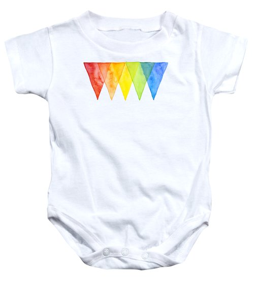 Geometric Watercolor Pattern Rainbow Triangles Baby Onesie